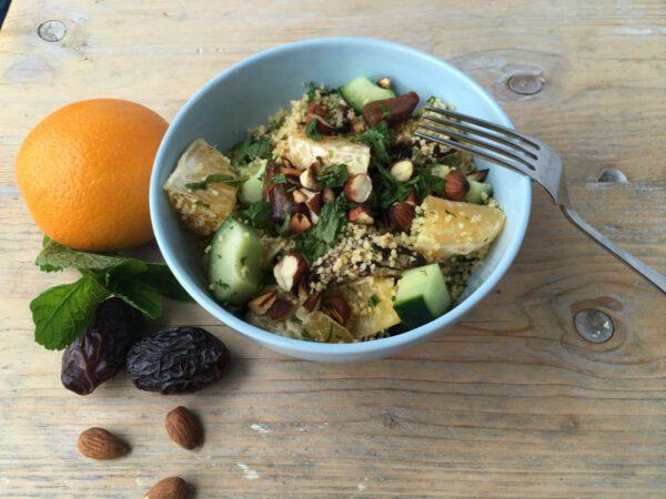 couscous salade dadel sinaasappel munt
